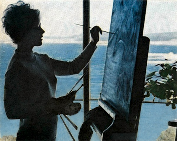 Kim Novak painting at her home in Carmel, California