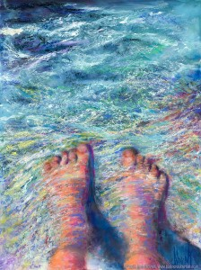 The Tides of Humanity, Original Painting of a pair of feet with water flowing over them in pastel on watercolor by Kim Novak