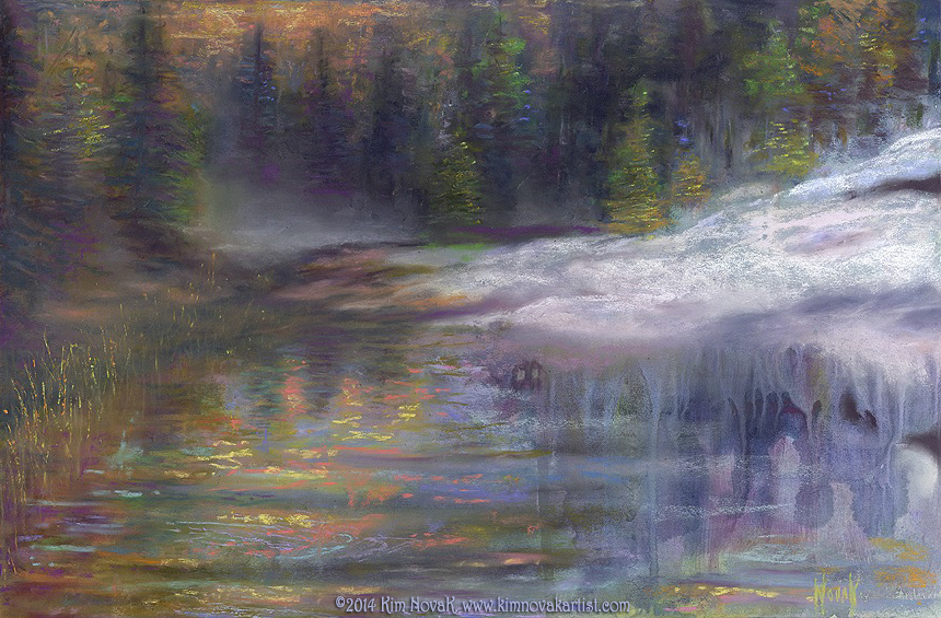 When Winter Ends, Original landscape painting of a river with snow and new spring growth in pastel over watercolor by Kim Novak. Copyright 2014 Kim Novak. All rights reserved.
