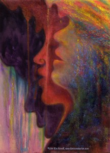 "Profiles of 3 African women singing in pastel over watercolor, accompanied by this poem, also by Kim Novak: ""Rainbow Voices, sweet as the bird in the eye of girl with the golden hair-  bird drinking dew from the jungle dawn where her sisters were born – related dreams- fated schemes; together they form a 'Rainbow Coalition' transition to transform the forlorn with a song. United they stand divided WE fall;  voices ring  out, echoes multiply  their call,  ""Come join the forces, no remorses,""  a common need for  harmony unsung, the unlived memory of discord undone… Rainbow Voices seek a place in the sun, a piece of peace, to live as one."" ~Kim NovaK  This print is a detail of the women/wings from Ms. Novak's 'Transformation: Nelson Mandela' painting."